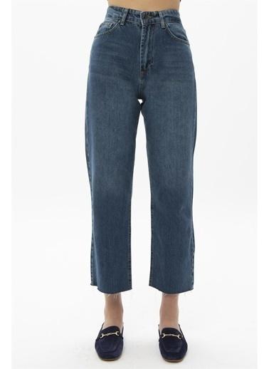 Female Project Koyu Mavi Yüksek Bel Mom Jeans Mavi